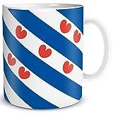 TRIOSK Tasse Flagge Friesland Länder Flaggen Geschenk Niederlande Souvenir Fryslan für Reiselustige Frauen Männer Arbeit Büro Weltenbummler