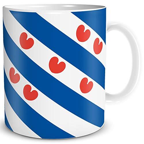 Mok vlag Friesland land land vlaggen geschenk mokken reizen souvenir Fryslan voor reizigerslustige vrouwen mannen globetrotters