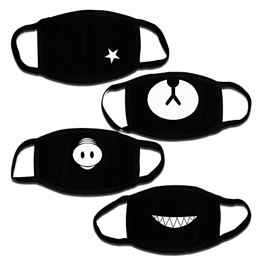 Teenitor Anti Dust Anime Mask Cotton Mask, Cut Anti Dust Face Mouth Mask for Kids Teens Black - 4pcs A Set