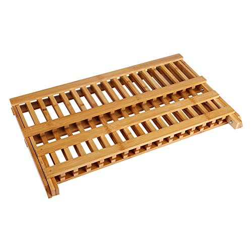 Yosoo Health Gear 2 Tier Bamboo Dish Drying Rack, Collapsible Bamboo Dish Drying Rack Plate Cutlery Dryer Draining Rack Holder Kitchen for Dish, Plate, Bowls, Cup