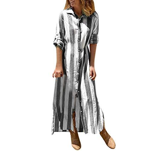 Damen gestreiftes Hemd Kleid Revers Langarm Vintage Print geknöpft Leinen Kleid Mode lässig böhmischen gerades Kleid Sonojie