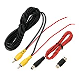 Backup Camera RCA Video Cable, Car Reverse Rear View Camera Video Cable with Detection Wire (19.69FT / 6M),AV Extension Cable with RCA Video Female to Female Coupler and Power Cable