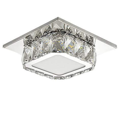 Plafoniera Lampada Cristallo, 12W Moderna LED Lampadario, Lampada da Soffitto per Soggiorno Camera da Letto Corridoio Cucina 6000K(Bianco freddo 20CM)