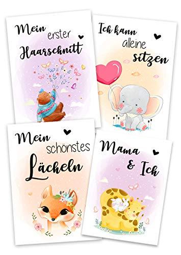 JoliCoon® Fotokarten-Box für Babys erstes Jahr: 39 Meilensteinkarten - Geschenk zur Geburt Babyparty für werdende Eltern - Meilensteine für 1. erstes Lebensjahr - Monatskarten Baby Junge Mädchen