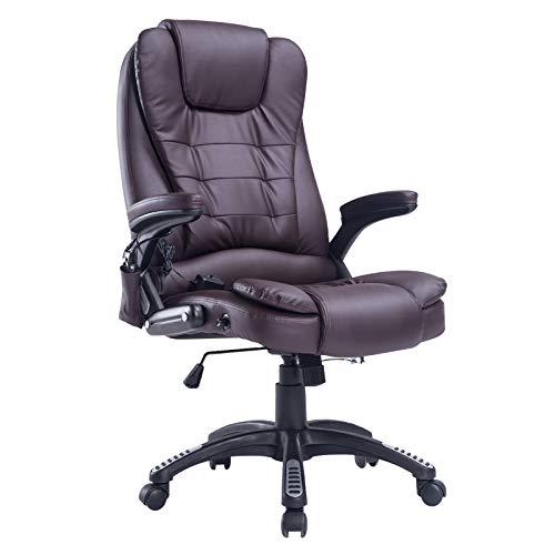 sedia ufficio marrone homcom Poltrona Sedia Massaggiante da Ufficio con Riscaldamento Ecopelle 62 x 68 x 111-121cm