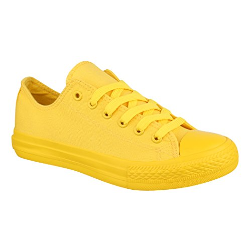 Elara Unisex Sneaker Damen Herren Low Top Chunkyrayan ZY9034-12 Yellow-43