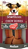 SmartBones Medium Beef Bones Rawhide-Free Chewy Treats for Dogs, Beef Flavour, Made With Chicken and Vegetables