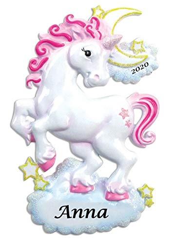 2020 Personalized Glittered Unicorn Ornament Christmas Tree Ornament Handwritten Customized Decoration Fairytale Fantastic Ornaments Baby Girl Boy Gift-Free Personalization (Sparkle Unicorn)
