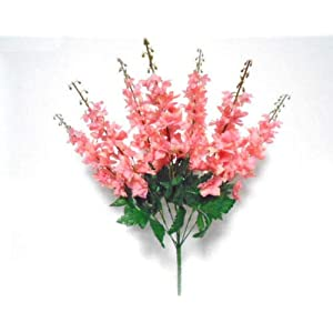 22″ Bouquet Salmon Delphinium Bush Artificial Silk Flowers LivePlant