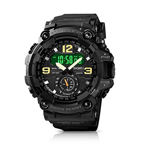 WIOR Reloj digital para hombre, resistente al agua, 50 m, reloj deportivo al aire libre, multifunción, 12H/24H analógico, con...
