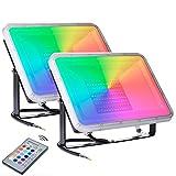 2 x 100W RGB Foco LED con Control Remoto 8000lm,16 Colores & 4 Modos, Foco Proyector Exteriores con Función de Memoria Impermeable IP66 Iluminación del Paisaje Proyector LED para Jardín Fiesta Etapa