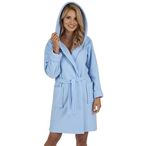 Vivisence Dame Bademantel Nachtwäsche Kapuze Taschen Langarm 5016 Robe, In EU Hergestellt, Blau,L