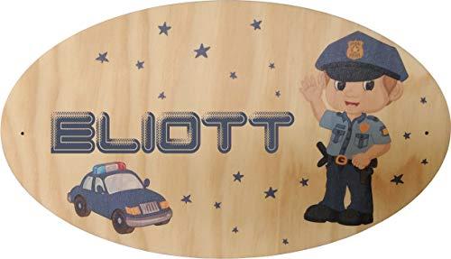 Décoration de Porte en bois pour une Chambre d'enfant - Le prénom de la plaque en bois est personnalisable - cadeau de naissance personnalisé - déco enfant & bébé - Police (Pq Porte 4)