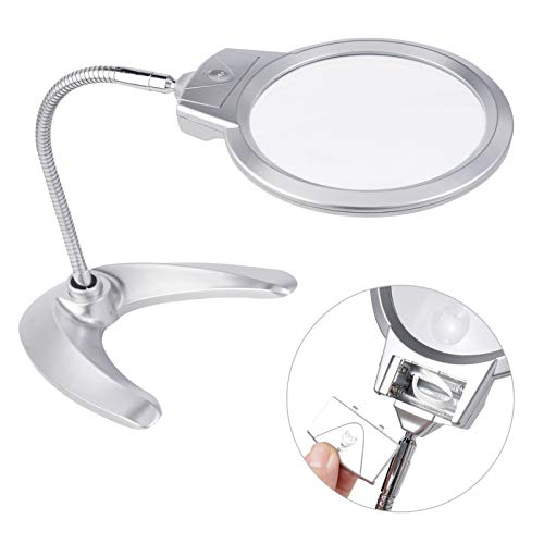 Magnifying Glass with Light and Stand,Lighted Magnifying Glass Hands Free,Magnifier for Reading Seniors,Tabletop Led Magnifier,2X 5X Desktop Magnifier with Folding Neck for Crafts Jewelry Making