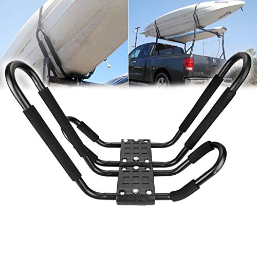 Ambienceo 2 Racks Universal Car Truck Roof Top Mount Carrier Roof Tabla de Kayak Rack Crossbar J Shaped Bar Kayak Carrier Canoe Boat Surf Ski Roof Arriba Mount Car