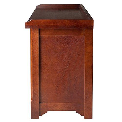 Product Image 4: Winsome Wood MilanWood Storage Bench in Antique Walnut Finish with Storage Shelf and 3 Rattan Baskets in Antique Walnut Finish