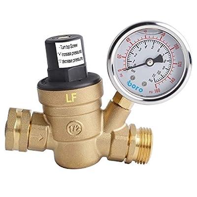 Hydro Master 0571310 Water Pressure Regulator, Lead Free Brass Valve with Gauge for RV Camper, Pressure Range 0-160PSI / 0-11Bar by Boro