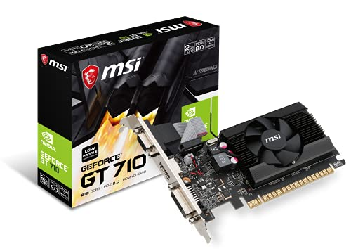 MSI Gaming GeForce GT 710 2GB GDRR3 64-bit HDCP Support DirectX 12 OpenGL 4.5 Single Fan Low Profile Graphics Card (GT 710 2GD3 LP)