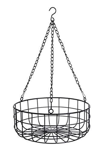 Spetebo Metall Aufbewahrungskorb 30cm schwarz - Metallkorb mit Kette zum aufhängen - Deko Korb Hänge Regal Drahtkorb Küche
