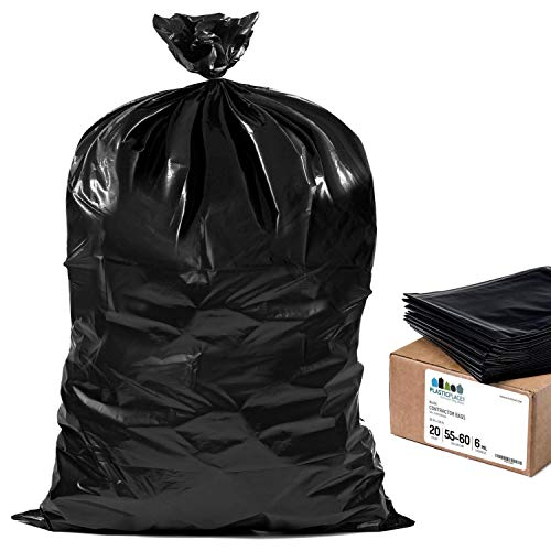 """Plasticplace Contractor Trash Bags 55-60 Gallon │ 6.0 Mil │ Black Heavy Duty Garbage Bag │ 36"""" x 58"""" (20 Count)"""