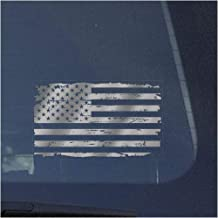 American Flag Clear Vinyl Decal Sticker for Window, Distressed US Flag Sign Art Print Design-Metallic Silver