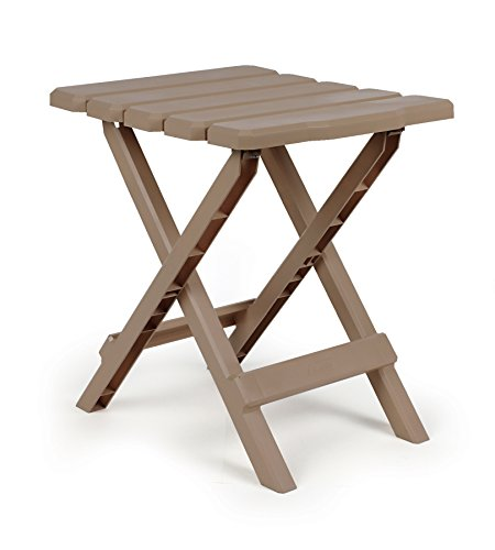Camco 51883 Adirondack Portable Outdoor Folding Side Table Perfect for The Beach Camping Picnics Cookouts and More Weatherproof and Rust Resistant  Taupe