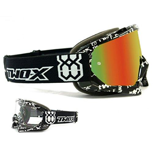 TWO-X Race Crossbrille Text schwarz Weiss Glas verspiegelt Iridium MX Brille Motocross Enduro Spiegelglas Motorradbrille Anti Scratch MX Schutzbrille