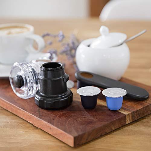 Bluecup Cápsulas de café Reutilizables Nespresso Cafeteras, Recargables Compatibles con Nespresso Máquinas, 2 Cápsulas Rellenables + 100 Tapas + 1 Sellador de cápsulas + 1 Cuchara