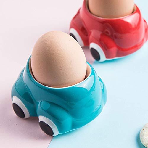 Huevera Huevera Holder suave linda cerámica huevo hervido de forma Desayuno Almuerzo de coches Huevos de desayuno de cocina (Color : Blue)