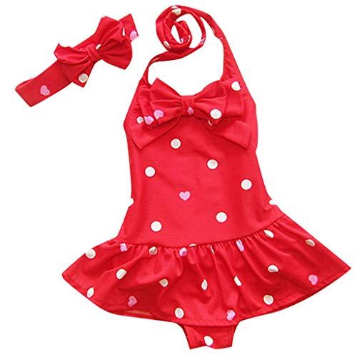 Bañador para niña Verano Niña Conjunto de Bikini Niñas Traje de Baño Niña Bikini Conjunto Flores Bañador de Dos Piezas para Niña Bebé de Vacaciones de Verano (Rojo,M)