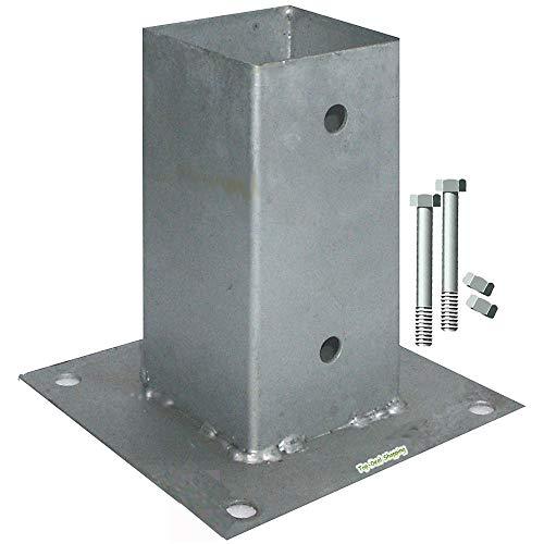 Bodenhülsen Aufschraubhülsen für Pfosten 9x9 cm mit 2x Schrauben 10x110 mm