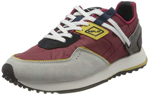 Replay Herren Drum PRO Wave Sneaker, 2876 Burgundy Navy, 44 EU