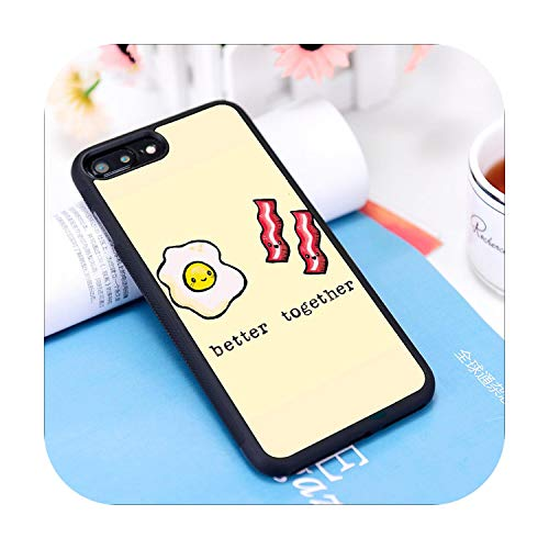 Nine-C 6 6S Funda para iPhone 7 8 Plus X Xs 11 Pro Max XR Suave Silicona Huevos Divertidos Bacon Cita Linda