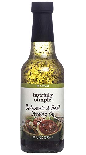 Tastefully Simple Balsamic & Basil Dipping Oil - Perfect for Dipping Bread, Over Pasta, Paninis, Grilled Cheese - 10 Fl oz