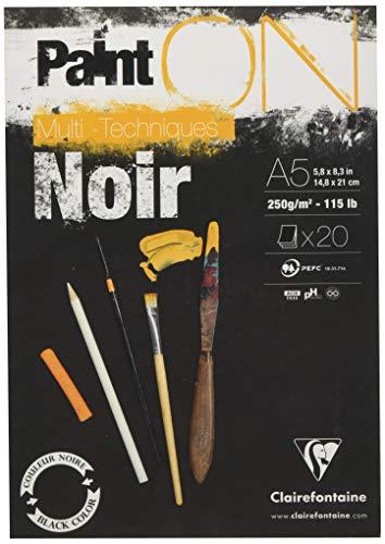 Clairefontaine 975168C Block Paint'On (20 Blatt, kopfseitig geleimt, 250g, DIN A5) 1 Stück schwarz