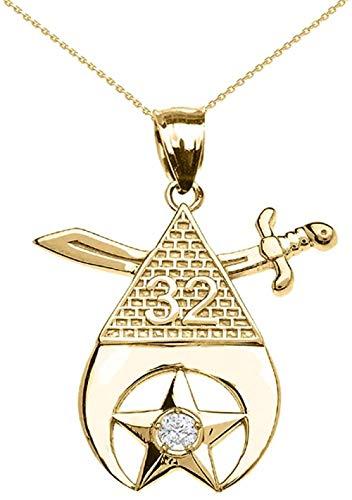MNMXW Collar con Colgante de Diamantes masónicos Shriners Freemason de Oro Amarillo de 14 Quilates (Viene con unaCadena de18)
