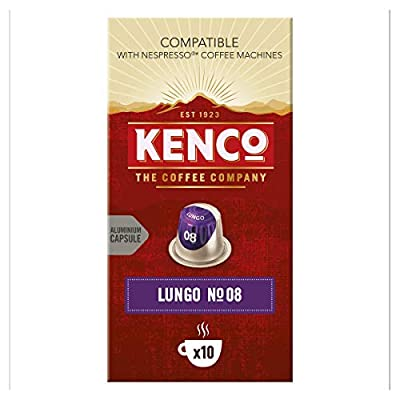 Kenco Lungo N.08 Intense - Intensity 8 - Nespresso Compatible Aluminium Coffee Capsules (Pack of 10, 100 Capsules in Total)