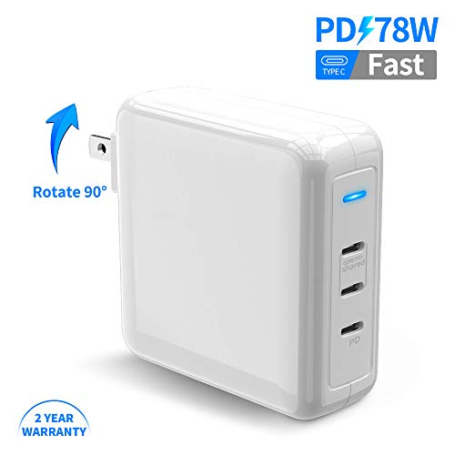 USB C Charger, Rocketek 78W Wall Charger PD 3.0 Charger Type C Fast Charging Power Delivery Foldable Adapter, 60W & 18W USB C Three Port for iPhone 11/Pro/MacBook Pro/AirPods Pro/Pixel/Galaxy/More