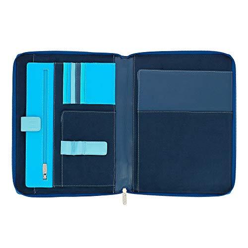 DUDU Cartella Portadocumenti A4 con Zip in Pelle Nappa Organizer Portablocco a Cerniera con Alloggio Tablet Blu