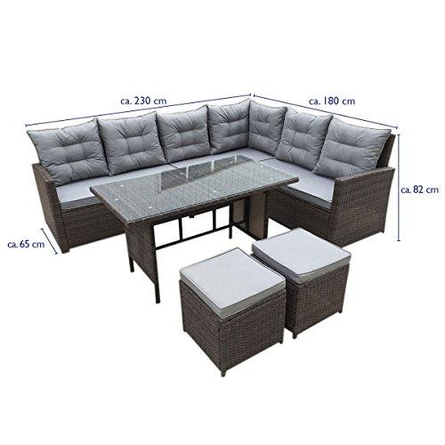 SVITA Monroe Polyrattan Ecksofa Rattan-Lounge Esstisch Gartenmöbel-Set Sofa Garnitur Couch-Eck (Lounge Set, Schwarz) - 4
