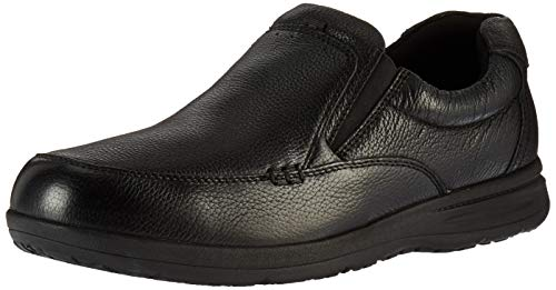 Nunn Bush Men's Cam Moc Toe Slip On Casual Lightweight Comfortable Loafer with Comfort Gel and Memory Foam, Black Tumbled, 13 Wide