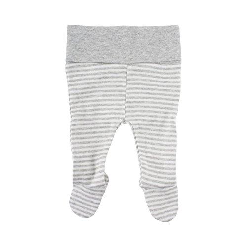 FIXONI LITTLE BEE Le Pantalon rayé pour prématuré avec Pieds Pantalon bébé, Gris