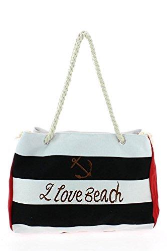 Go Tendance Borsa di tela da spiaggia, formato grande nero Taglia unica