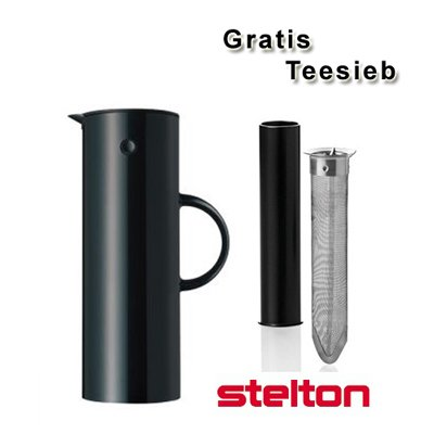 Stelton Isolierkanne/Thermoskanne schwarz + gratis Teesieb