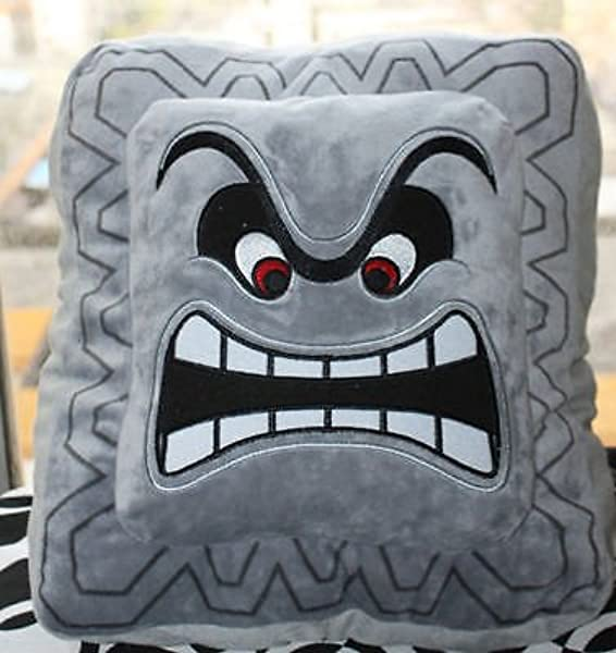 Super Mario Bros Thwomp Plush Pillow Toy 6X6