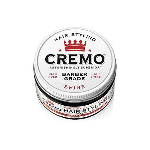 Cremo Premium Barber Grade Hair Styling Shine Pomade, High Hold & Shine, 4 Oz