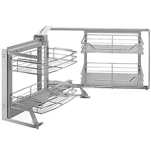 WRMIGN Cocina 2 Capas Tipo de tirón Cesta de tracción Fregadero multifunción Armario de Esquina Cesta giratoria Estante de tazón Estante para el hogar