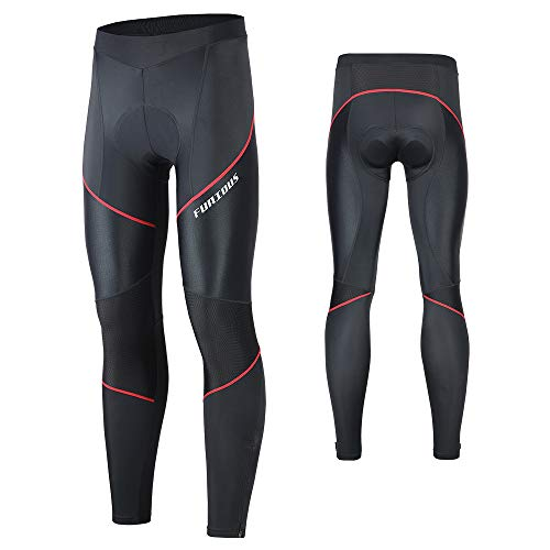 FEIXIANG Cycling Pants for Men, 3D Padded Long Bike Compression Tights MTB Legging Trousers Road Bicycle Mountain Riding Wear Red