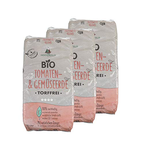 Hochwald Bio Tomatenerde torffrei mit Dünger | Spezialerde für Tomaten und Starkzehrer | Bioerde mit Bodenhilfsstoffen für zahlreiche Gemüsesorten | mit natürlichem Langzeitdünger | 3 x 20 Liter