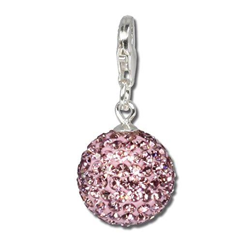 SilberDream Glitzer Charm Swarovski Kristalle Kugel flieder SHINY Anhänger 925 Silber für Bettelarmbänder Kette Ohrring GSC204